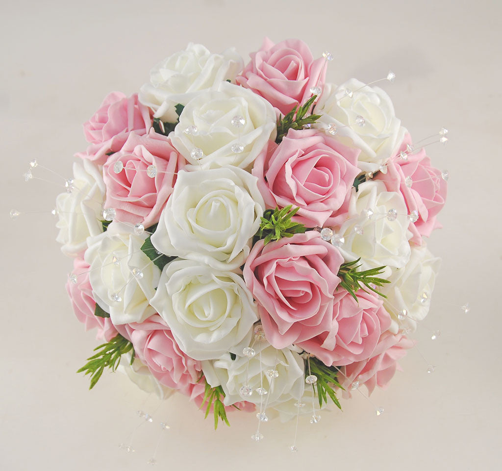 Dusky Pink And Ivory Rose Wedding Flower Package With Rosemary