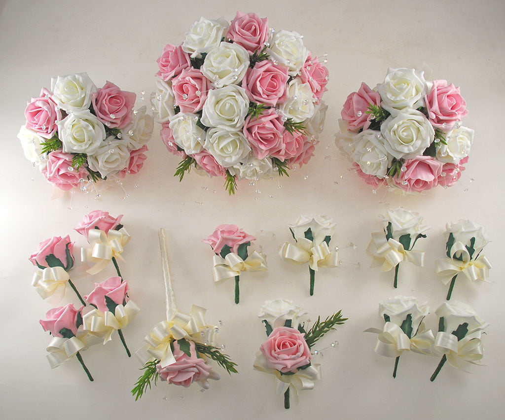 dusky pink and ivory rose wedding flower package with rosemary cryst budget wedding flowers. Black Bedroom Furniture Sets. Home Design Ideas