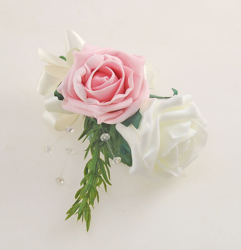 Dusky Pink and Ivory Rose Wedding Flower Package with Rosemary & Crystal Brides Bouquet, Bridesmaids Posies, Flower Girl Wand, Groom & Guest Buttonholes