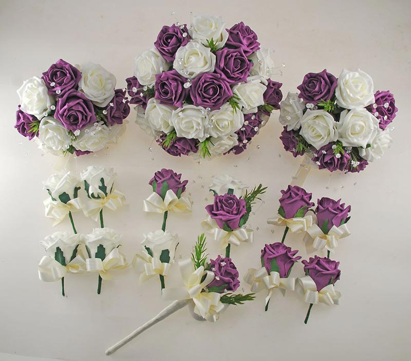Plum Purple and Ivory Rose Wedding Flower Package, Rosemary & Crystal Brides Bouquet, Bridesmaids Posies, Flower Girl Wand, Groom, Guest Buttonholes