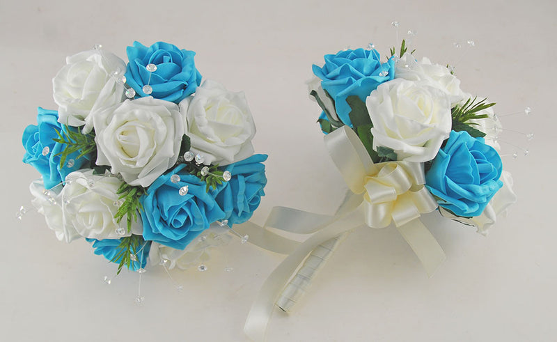 Turquoise and Ivory Rose Wedding Flower Package, Rosemary & Crystal Brides Bouquet, Bridesmaids Posies, Flower Girl Wand, Groom, Guest Buttonholes