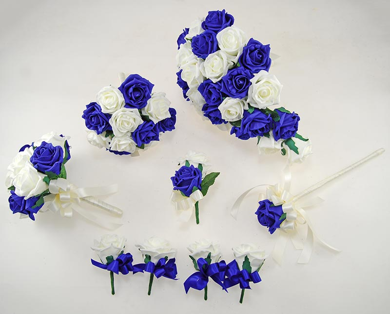 Royal Blue & Ivory Foam Rose Classic Wedding Package with Shower Bouquet