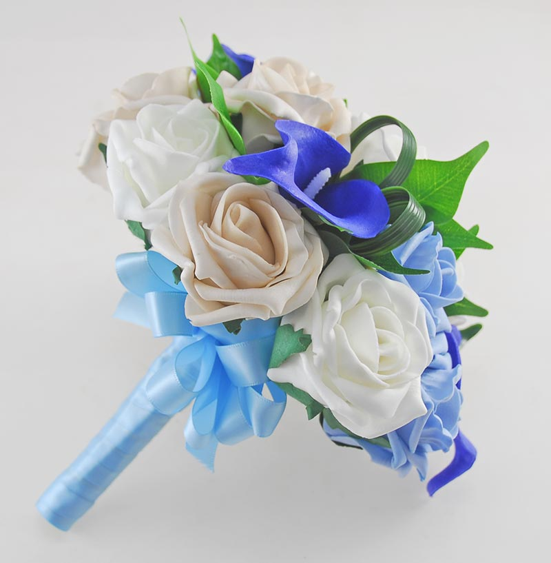 Royal Blue Calla lily, Light Blue & Ivory Rose Bridesmaids Wedding Posy