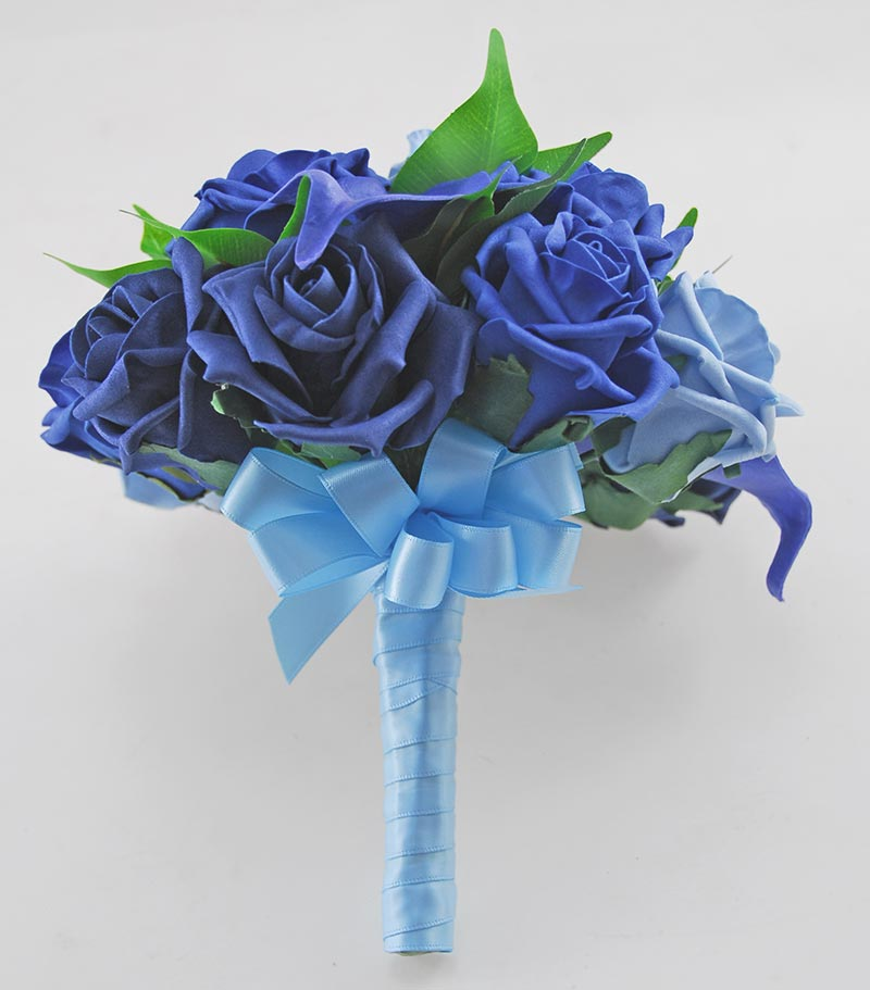 Royal Blue Calla lily & Rose Bridesmaids Wedding Posy