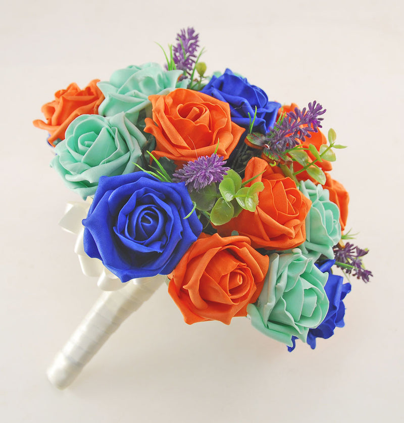 Royal Blue, Mint & Orange Rose, Butterfly and Lavender Wedding Flower Package