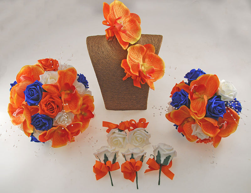 Royal Blue, Orange & Ivory Roses, Orange Orchid Tropical Wedding Flower Package with Brides Bouquet, Bridesmaids Posy, Grooms Buttonhole, Hair Comb & Guest Buttonholes