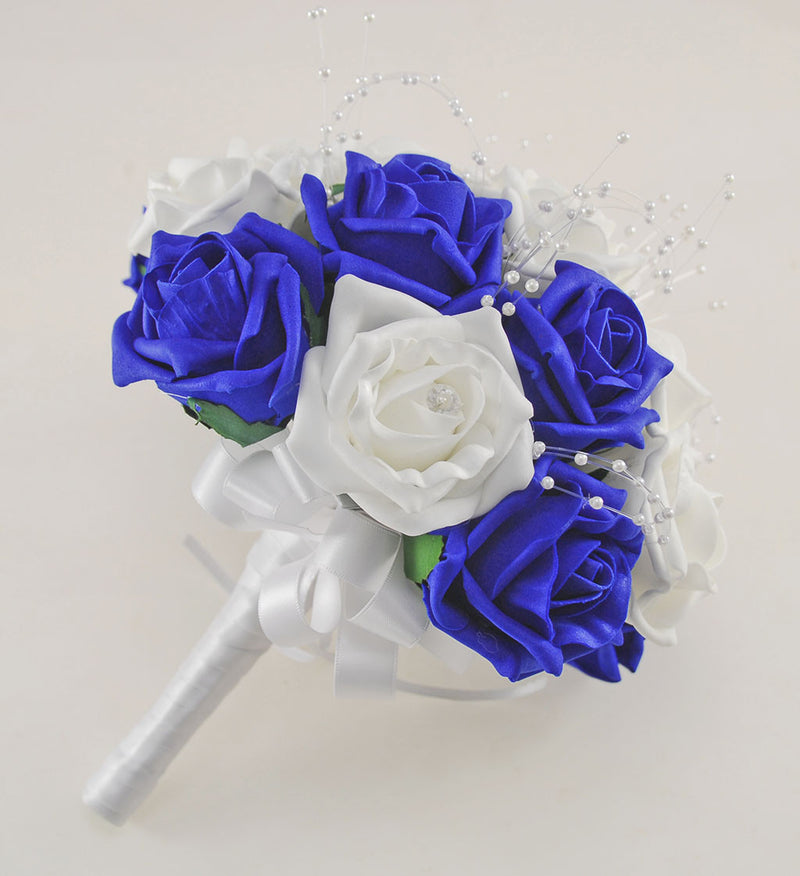 Royal Blue and White Diamante Foam Rose and Brooch Wedding Flower Package with Brides Bouquet, Bridesmaids Posies, Grooms Buttonhole