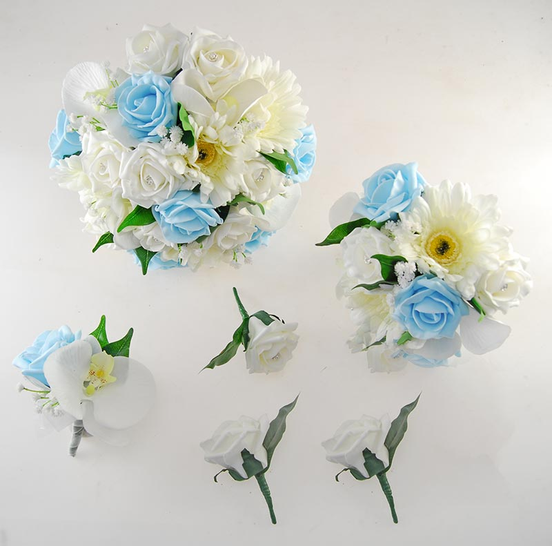 Sienna Ivory Orchid, Gerbera & Aqua Rose Wedding Flower Package