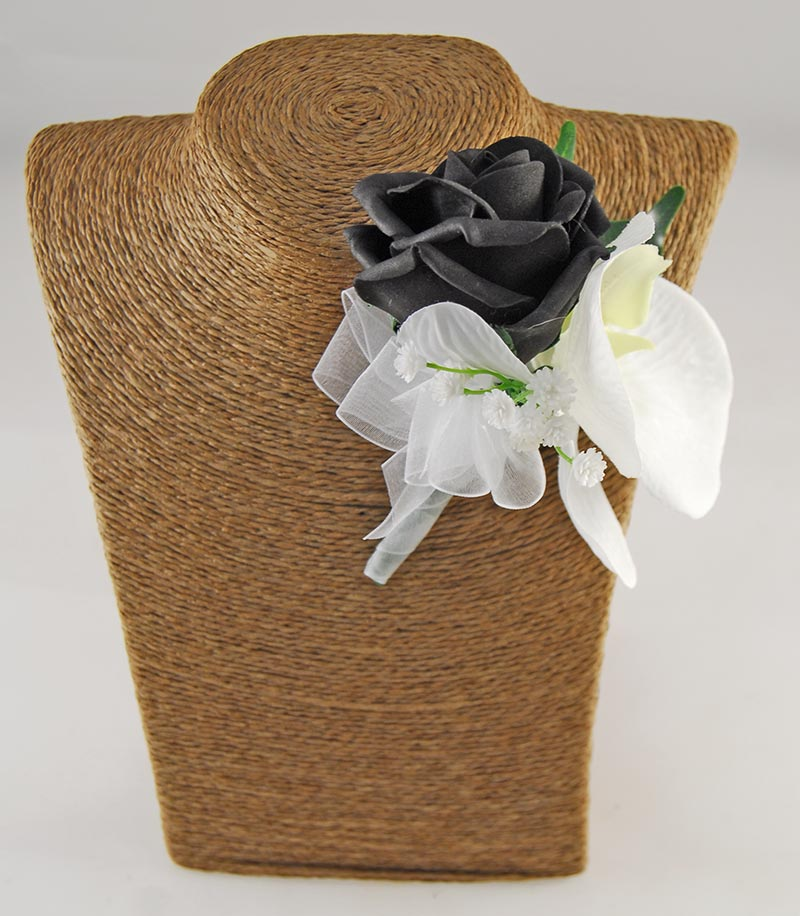 Sienna Ivory Orchid, Gerbera & Black Rose Wedding Flower Package