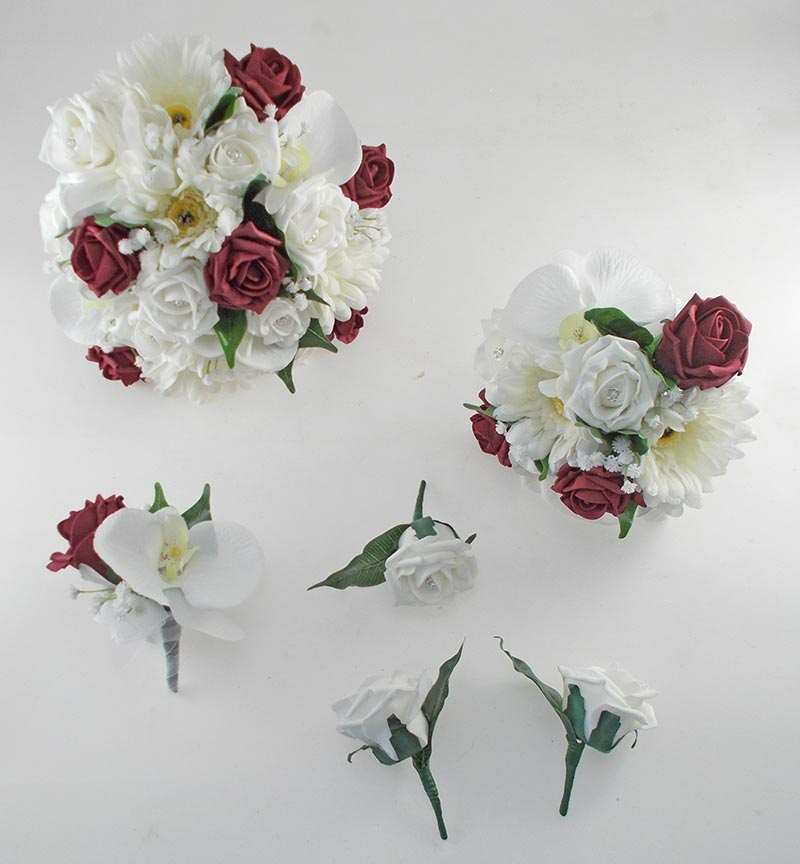 Sienna Ivory Orchid, Gerbera & Burgundy Rose Wedding Flower Package