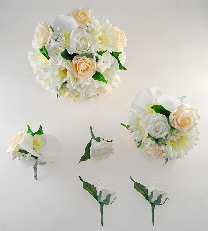Sienna Ivory Orchid, Gerbera & Cream Rose Wedding Flower Package