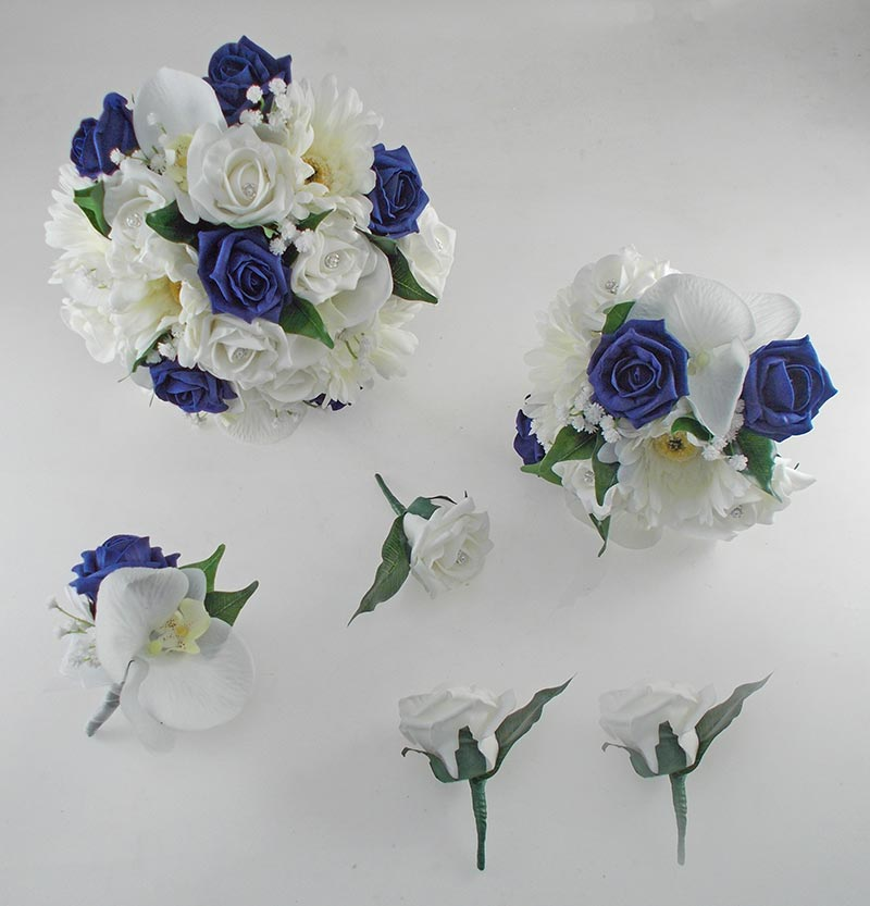 Sienna Ivory Orchid, Gerbera & Navy Blue Rose Wedding Flower Package