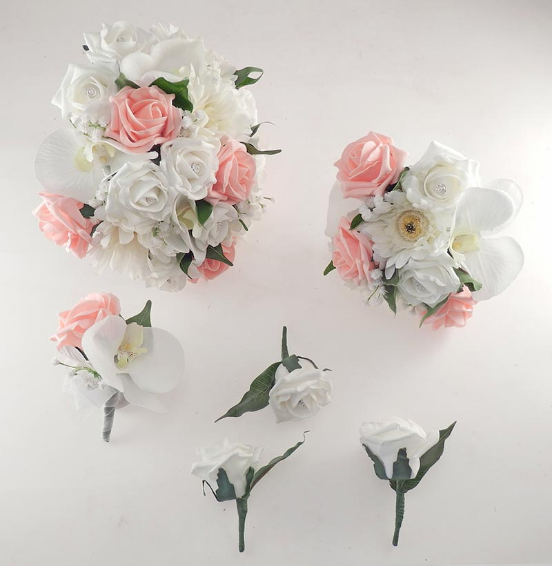 Sienna Ivory Orchid, Gerbera & Peach Rose Wedding Flower Package