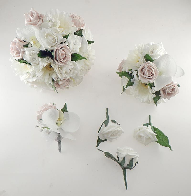 Sienna Ivory Orchid, Gerbera & Pink Mocha Rose Wedding Flower Package