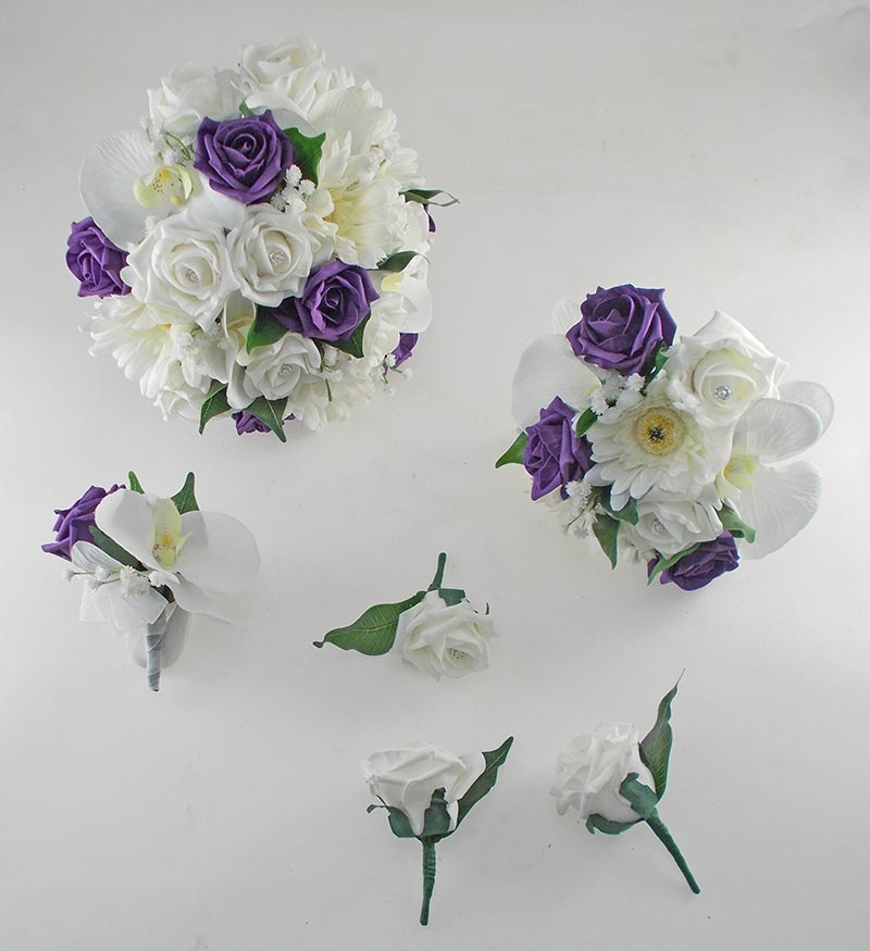 Sienna Ivory Orchid, Gerbera & Purple Rose Wedding Flower Package
