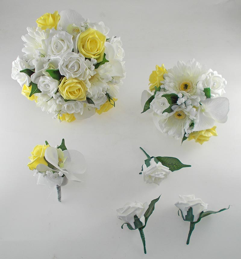 Sienna Ivory Orchid, Gerbera & Yellow Rose Wedding Flower Package