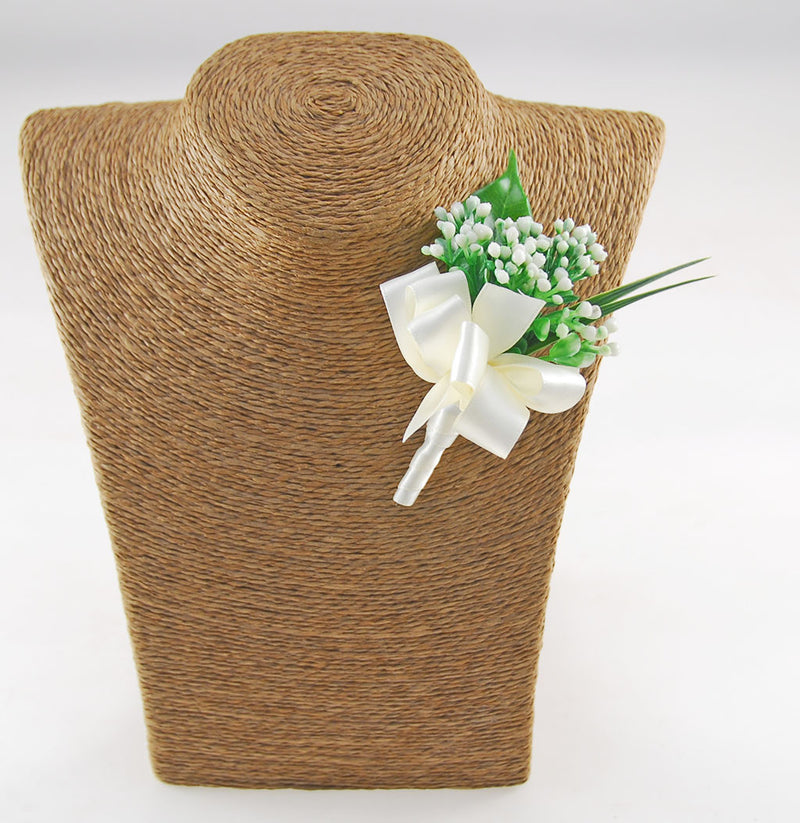 Silk Budded Gypsophila Wedding Guest Buttonhole