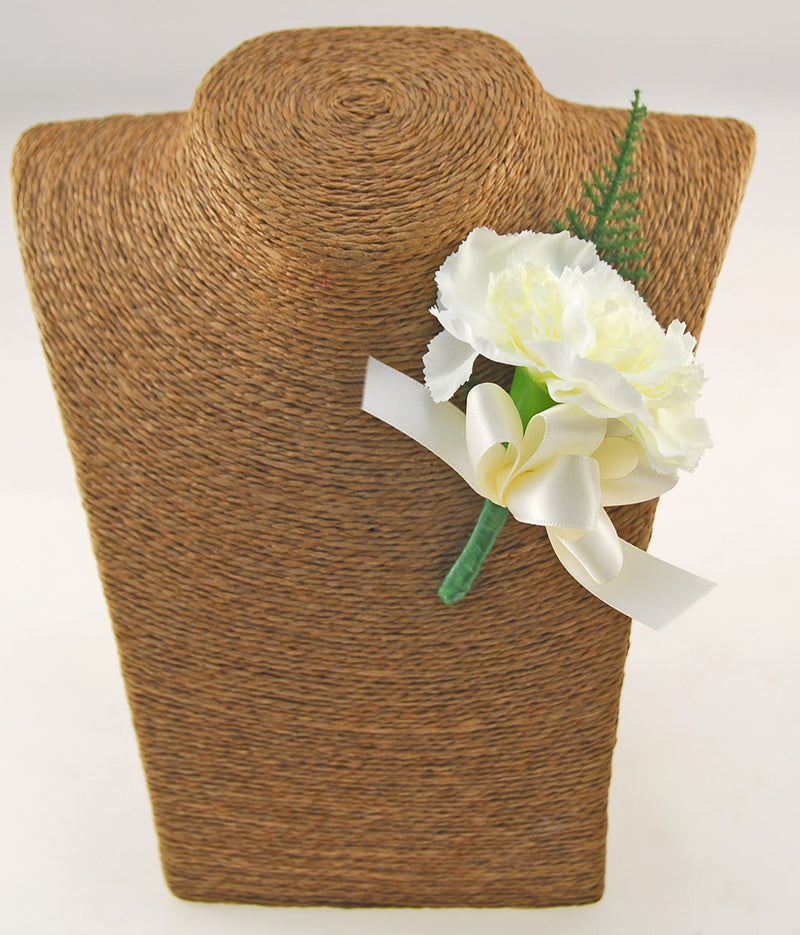 Silk Ivory Carnation & Satin Bow Wedding Guest Buttonhole