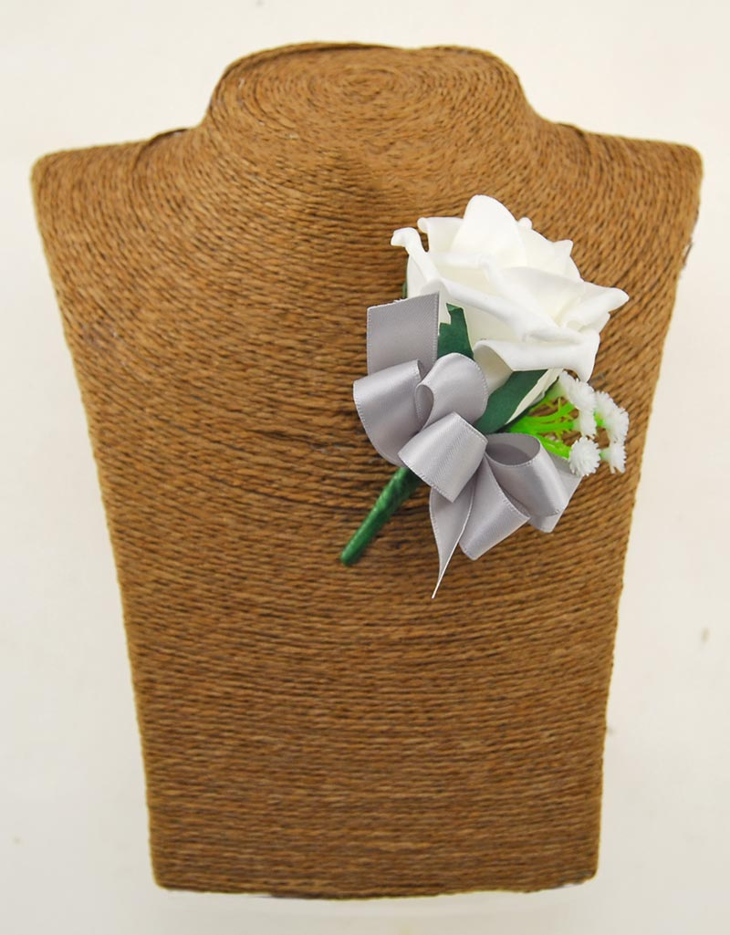 Single Ivory Foam Rose Wedding Guest Buttonhole Gypsophila With Silver Bow