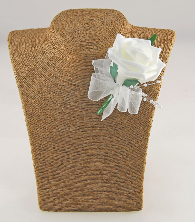 Single Foam Rose & Pearl Spray Wedding Guest Buttonhole - Pick Your Own Colour