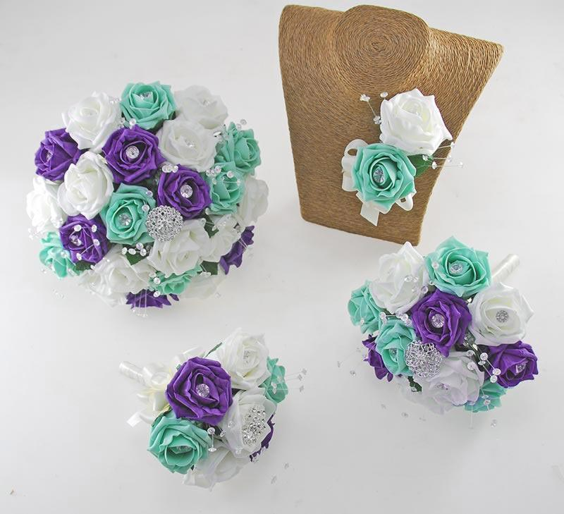 Sofia Crystal, Diamante Brooch & Ivory, Mint, Purple Foam Rose Wedding Flower Package