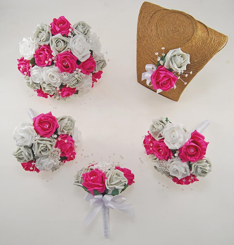 Sofia Crystal, Diamante Brooch, Ivory & Cerise Foam Rose Wedding Flower Package