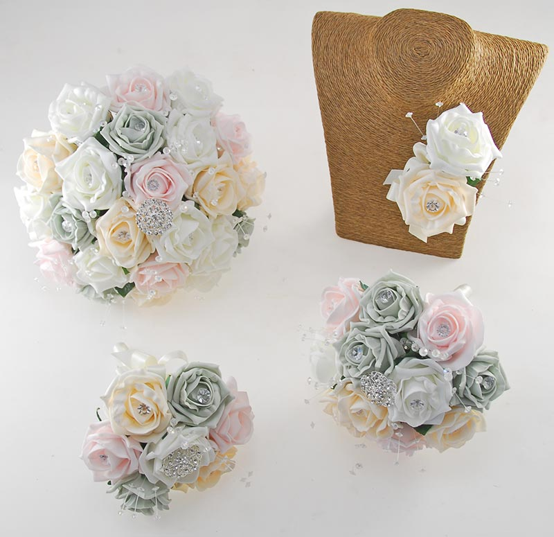 Sofia Crystal, Diamante Brooch & Ivory, Cream, Grey, Light Pink Foam Rose Wedding Flower Package