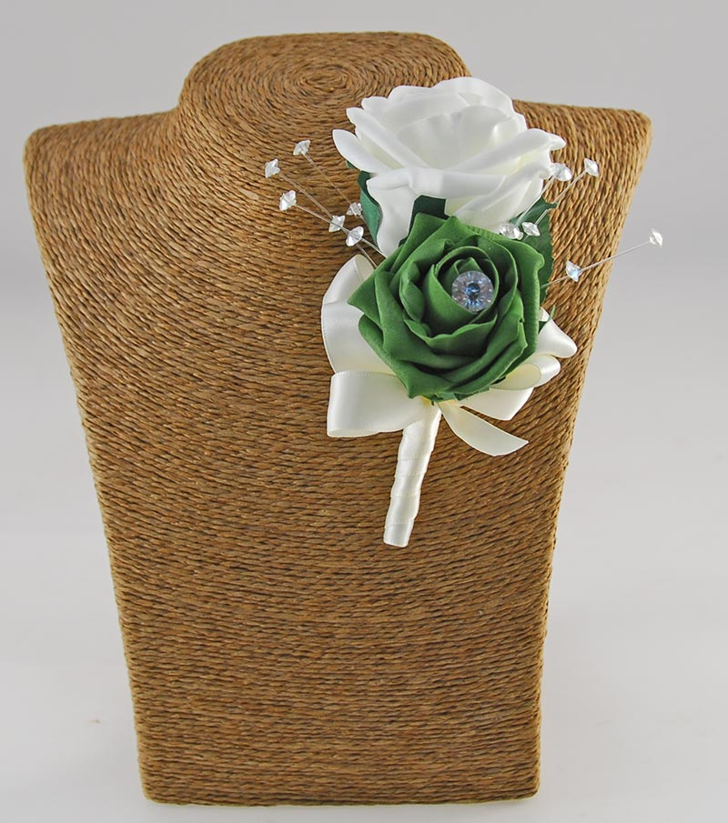 Sofia Crystal, Diamante Brooch & Ivory, Emerald Green, Forest Green, Mint Foam Rose Wedding Flower Package