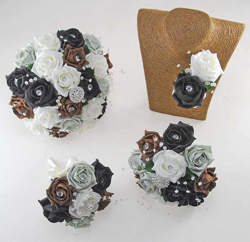 Sofia Crystal, Diamante Brooch & Ivory, Grey, Black, Brown Foam Rose Wedding Flower Package