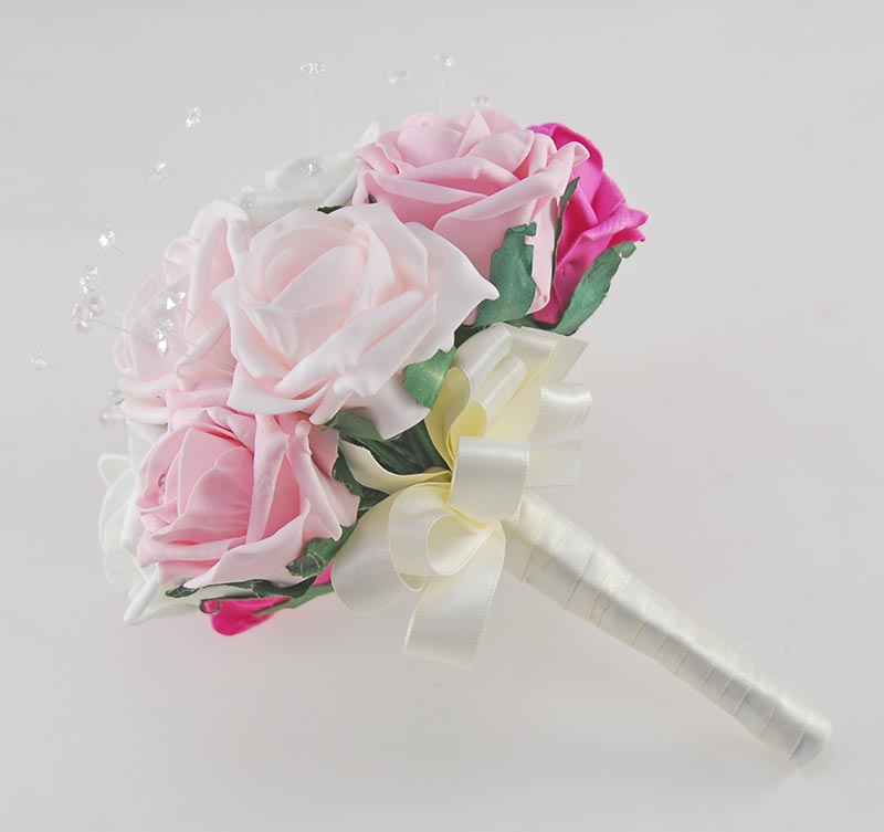 Sofia Crystal, Diamante Brooch & Ivory, Light Pink, Dusky Pink & Cerise Pink Foam Rose Wedding Flower Package