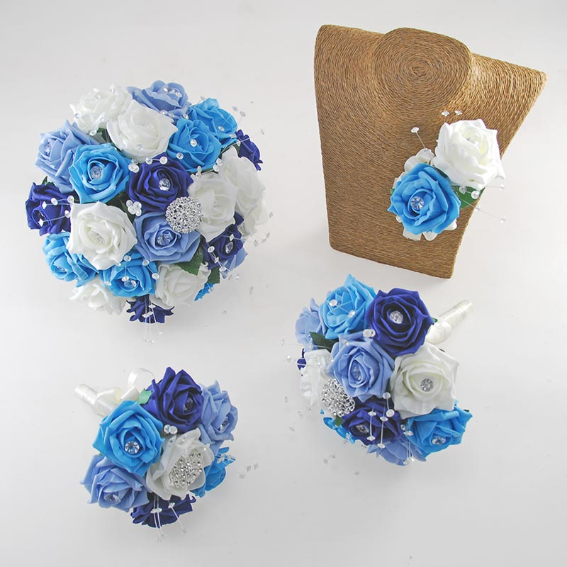 Sofia Crystal, Diamante Brooch & Ivory, Navy, Turquoise, Light Blue Foam Rose Wedding Flower Package