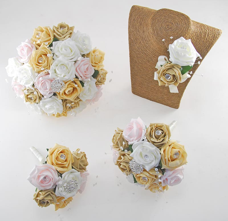Sofia Crystal, Diamante Brooch & Ivory, Pale Gold, Coffee, Light Pink Foam Rose Wedding Flower Package