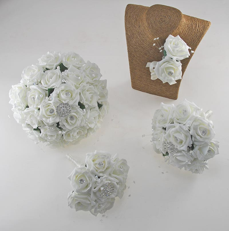 Sofia Crystal, Diamante Brooch & Ivory Foam Rose Wedding Flower Package
