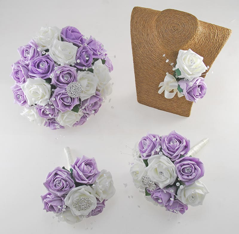 Sofia Crystal, Diamante Brooch, Ivory & Lilac Foam Rose Wedding Flower Package