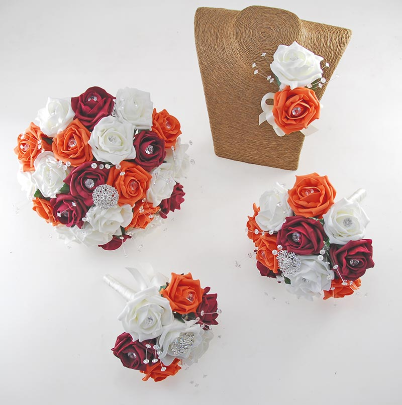 Sofia Crystal, Diamante Brooch, Ivory, Orange, Burgundy Foam Rose Wedding Flower Package
