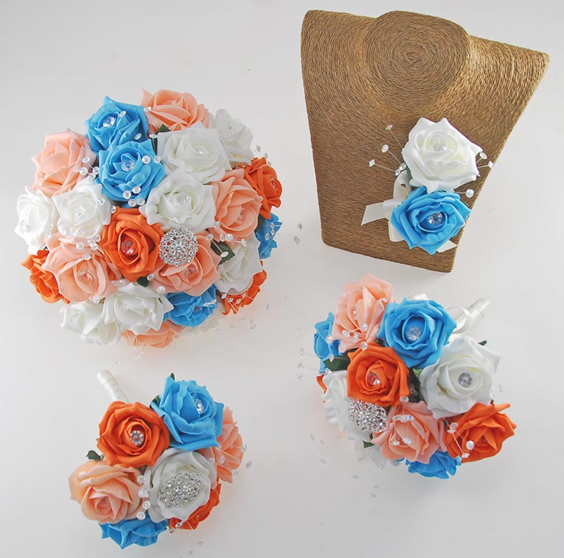 Sofia Crystal, Diamante Brooch & Ivory, Orange, Peach & Turquoise Foam Rose Wedding Flower Package