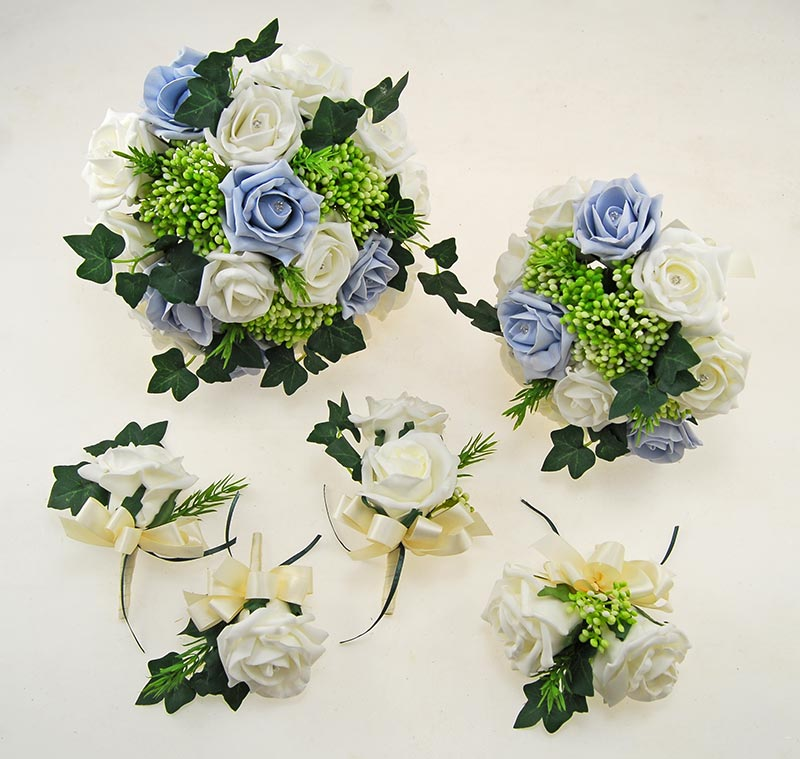 Ivory, Steel Blue Diamante Rose, Green Berry & Ivy Agatha Wedding Package