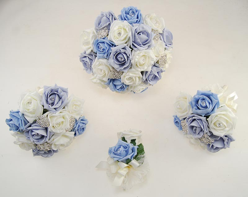 Steel & Light Blue Foam Rose Classic Diamante Brooch Wedding Flower Package
