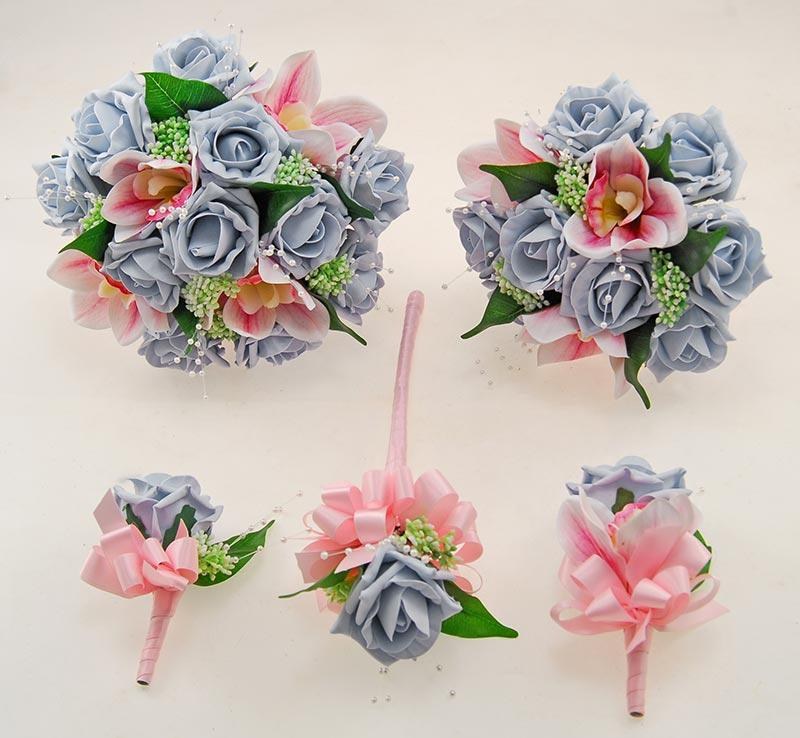 Ophilla Pink Orchid, Steel Blue Rose Gyp & Pearl Wedding Package
