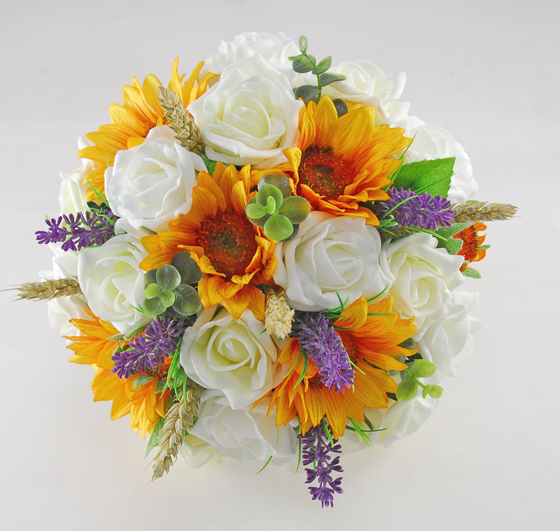 Sunflower, Wheat, Lavender & Ivory Rose Bridal Wedding Bouquet