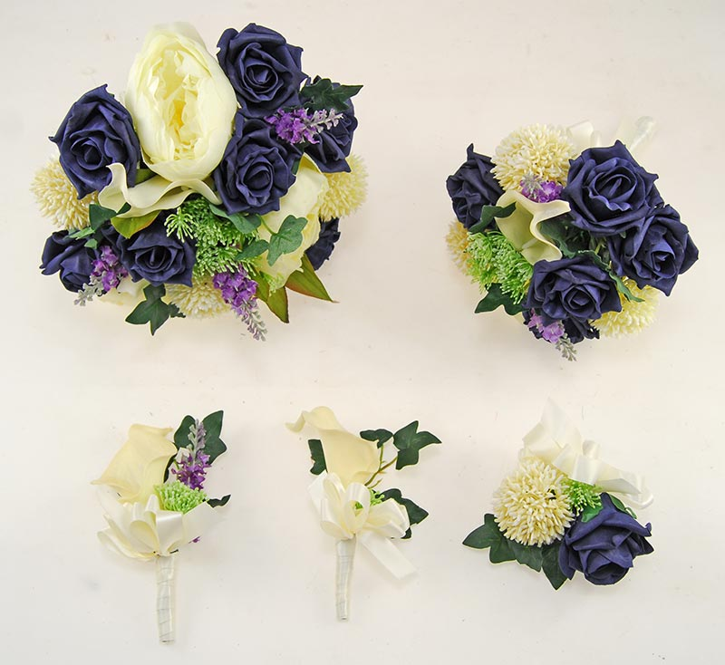 Tabitha Ivory Peony, Calla Lily, Allium, Purple Silk Lavender & Dark Navy Rose Wedding Package