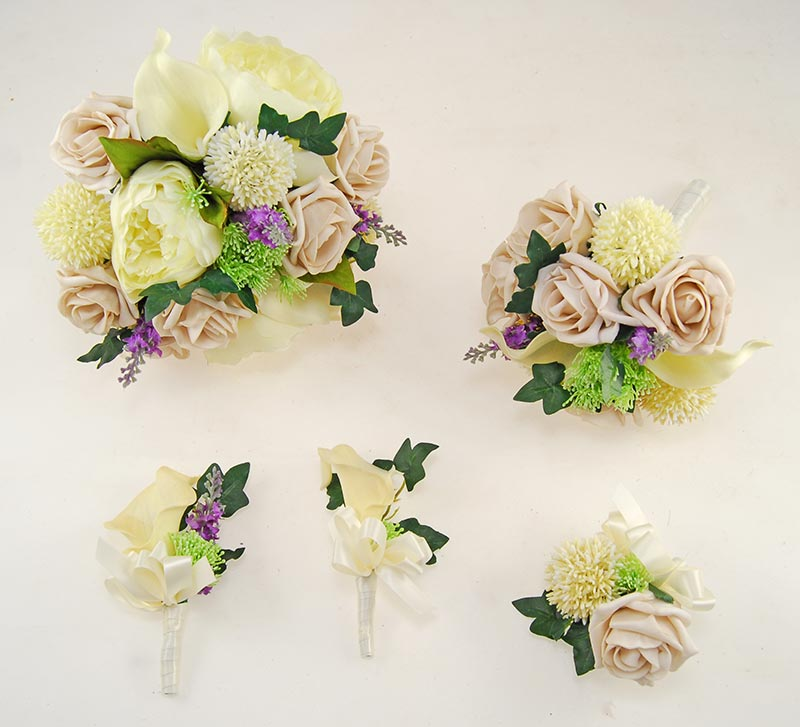 Tabitha Ivory Peony, Calla Lily, Allium, Purple Silk Lavender & Mocha Rose Wedding Package