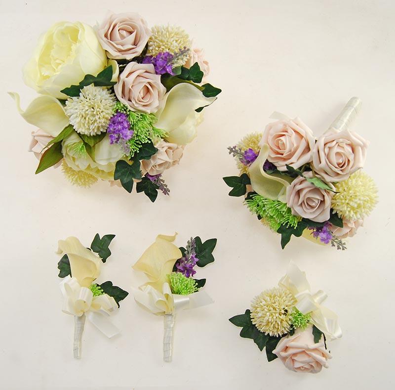 Tabitha Ivory Peony, Calla Lily, Allium, Purple Silk Lavender & Pink Mocha Rose Wedding Package