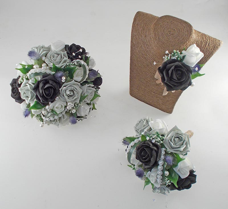 Tazmin Black, Grey & Ivory Rose, Pearl & Thistle Wedding Flower Package