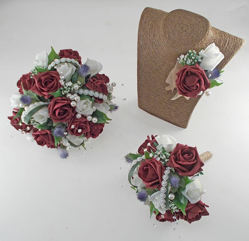 Tazmin Burgundy & Ivory Rose, Pearl & Thistle Wedding Flower Package