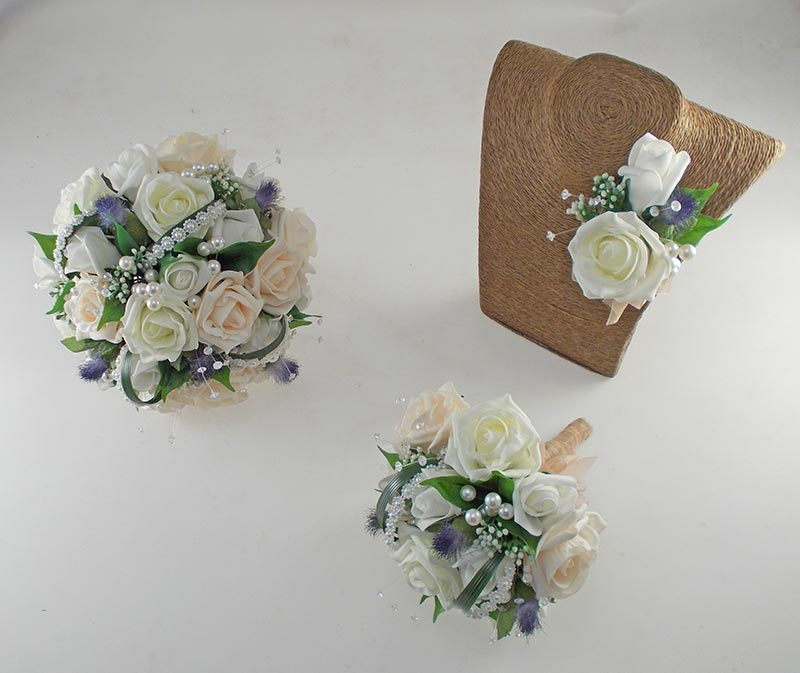 Tazmin Cream, Lemon & Ivory Rose, Pearl & Thistle Wedding Flower Package
