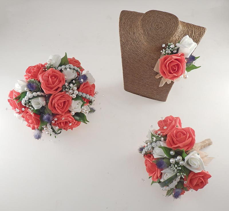 Tazmin Ivory & Coral Rose, Pearl & Thistle Wedding Flower Package