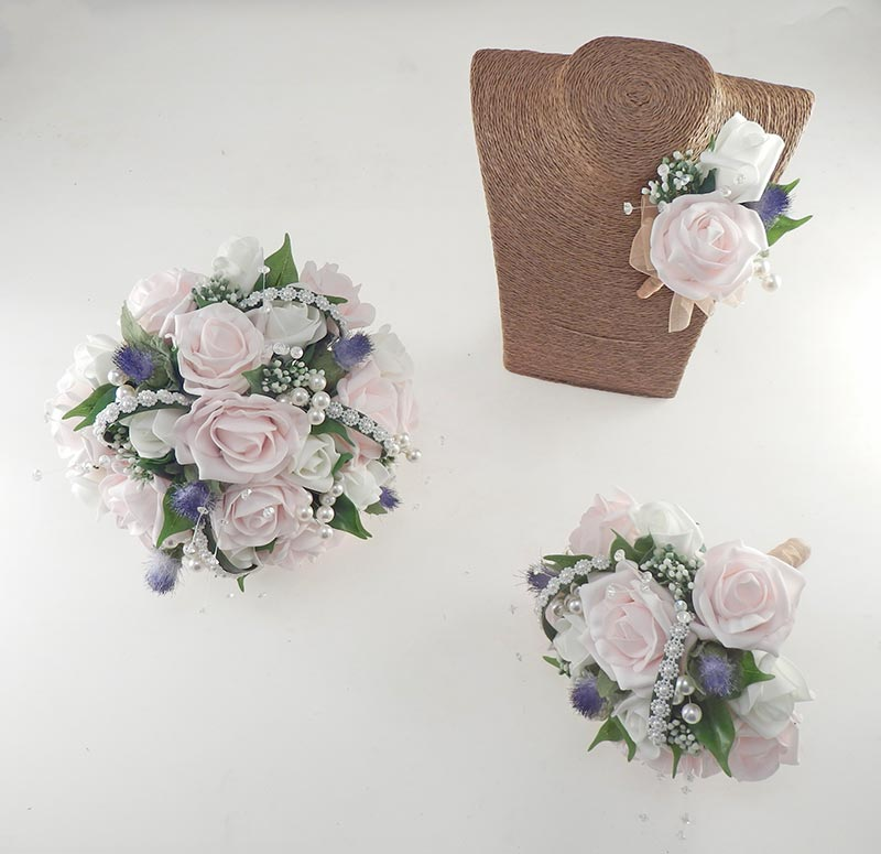 Tazmin Ivory & Pink Rose, Pearl & Thistle Wedding Flower Package