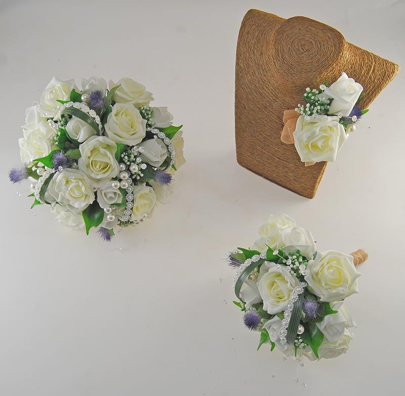 Tazmin Lemon & Ivory Rose, Pearl & Thistle Wedding Flower Package