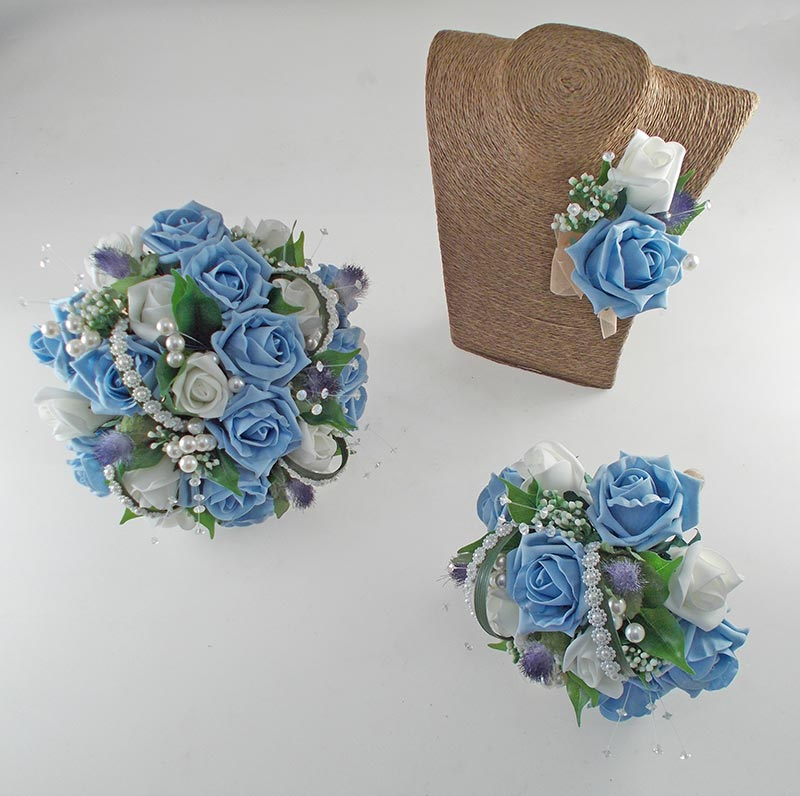 Tazmin Light Blue & Ivory Rose, Pearl & Thistle Wedding Flower Package